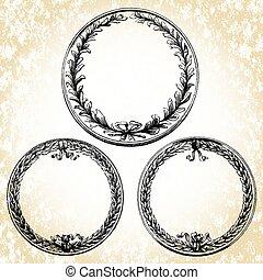 ovale, cadres, vecteur, couronne