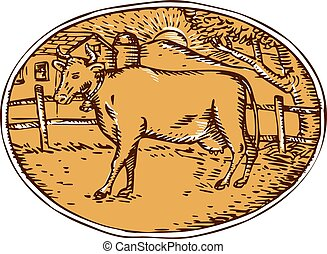 ovale, casa, mucca, woodcut, fattoria, ranch