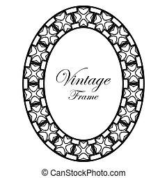 ovale, décoratif, cadre, deco, art