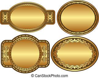 ovale, doré, arrière-plans
