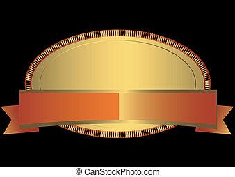ovale, doré, cadre, (vector)