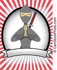 ovale, ninja, bannière, dessin animé, annonce