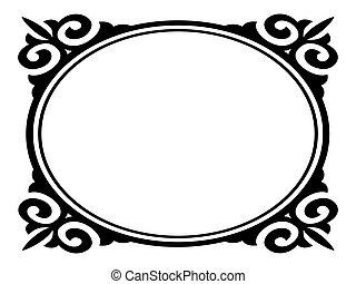 ovale, ornamentale, decorativo, vettore, cornice