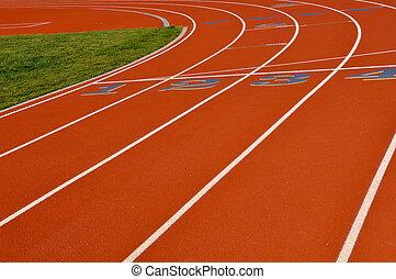 ovale, pista, correndo