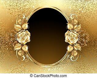 ovale, rose, bannière, doré