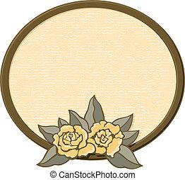 ovale, roses, cadre, vecteur