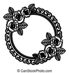 ovale, roses, emblème, rond, icône