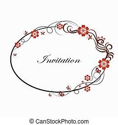 ovale, simple, cadre, décoratif