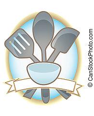 ovale, ustensiles, cuisson, bannière, vide