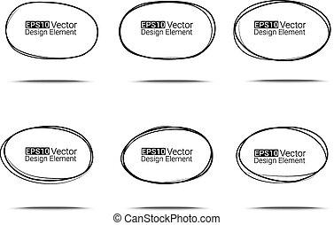 Ovals set - Hand drawn ovals set for your design, Eps10...