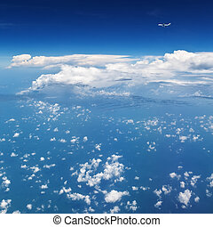 ovanför, fri, flygning, sky, mellersta luft, bakgrund, ...