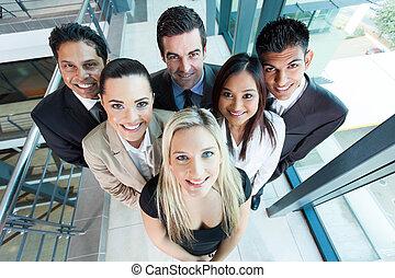 ovanför, synhåll, av, grupp, affärsverksamhet lag
