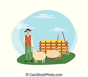 ovelhas cultivam, agricultura, vetorial, agricultor, agricultura, homem