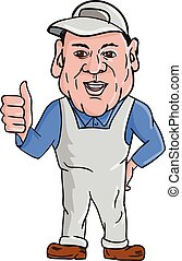 Oven Cleaner Technician Thumbs Up Cartoon