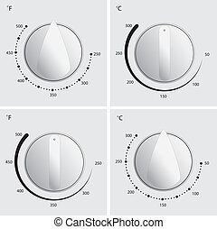 Oven Dial Vector - Oven dial vector in 4 different styles...