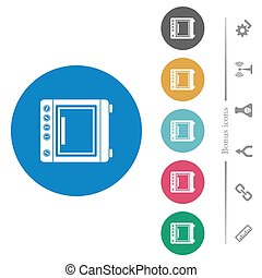Oven flat round icons