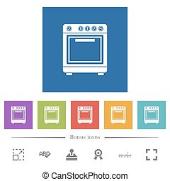 Oven flat white icons in square backgrounds