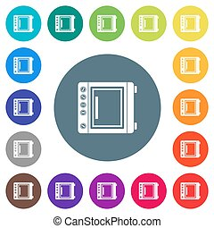 Oven flat white icons on round color backgrounds