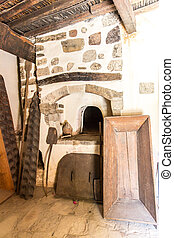 Oven-forged iron and ceramics in Museum with artifacts of...