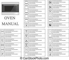 Oven manual symbols. Instructions. Signs and symbols for oven exploitation manual. Instructions and function description. Vector isolated illustration.