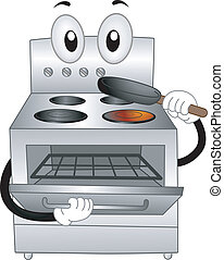 Mascot Illustration of a Stainless Oven Placing a Pan Inside of Him
