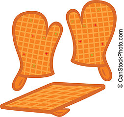 Oven mitts and pot-holder vector