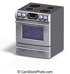 rendering of a oven With Clipping Path over white