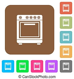 Oven flat icons on rounded square vivid color backgrounds.