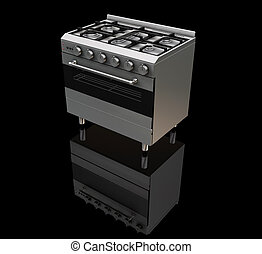 Oven - 3D render of a gas oven on a black background