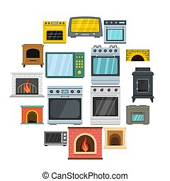 Oven stove furnace fireplace icons set, flat style