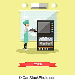 Oven vector illustration in flat style