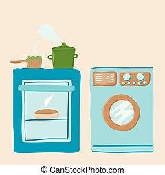 oven., vector, was, kachels, machine, kitchen., tekening,...