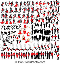 150 people at leisure silhouettes
