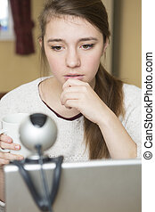 over, betrokken, tiener, bullying, online, meisje
