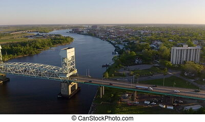 Over Cape Fear River Highway 17 Bridge Wilmington North...