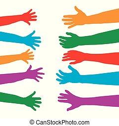 over, concept, volwassenen, kleurrijke, silhouettes, handen, kinderen, care