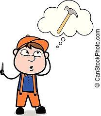 over, denken, arbeider, werktuig, -, timmerman, illustratie, vector, retro, hamer, spotprent