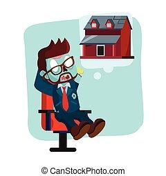 over, denken, woning, zombie, nieuw, zakenman