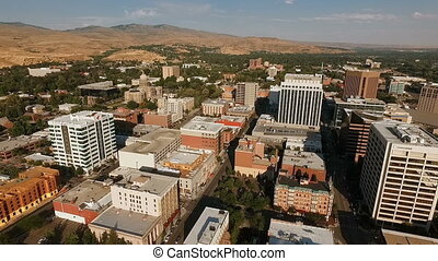 Over Downtown Boise Idaho State Capital Buidling Downtown -...