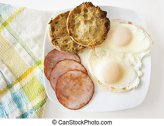 Over Easy Eggs - A breakfast plate with two eggs over easy, ...