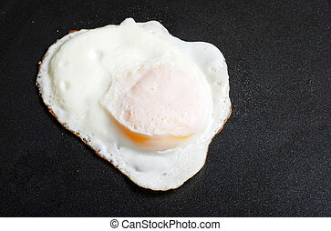 over easy fried egg in frying pan