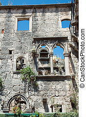 Over grown ruins of the home of Marco Polo on the island of Korcula
