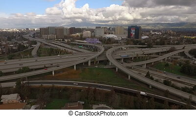 Over Highways San Jose California Downtown City Skyline -...