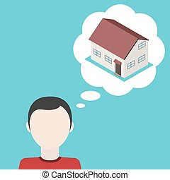 over, illustration., house., vector, droom, man