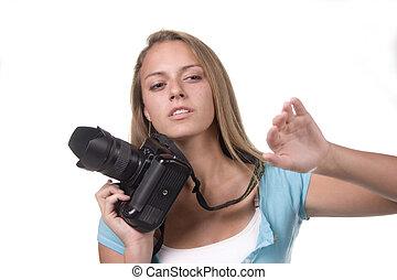 Teen with still camera