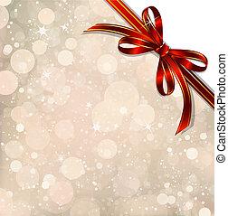 over., magisch, schleife, vektor, weihnachten, rotes