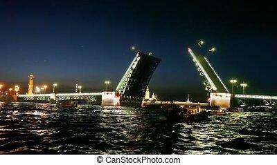 Over night Neva raised shined Palace Bridge