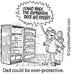 over-protective, estante, dice, espalda, padre
