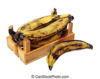 over ripe plantain banana in crate