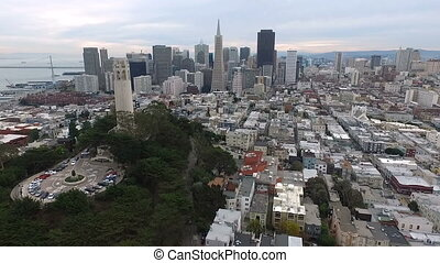 Over San Francisco California Coit Tower Downtown City...